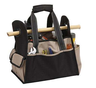 Khaki Tool Case with 3 Open Pockets and Dual Carry Handles Easy Carry P7294