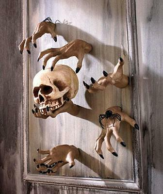 Halloween Decor Prop 2 PC Hands 3-D Wall Mount Grab Snatch Zombie Haunted