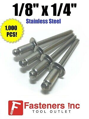 "(QTY 1000) POP Rivets ALL Stainless Steel 4-4 1/8"" x 1/4"" Grip Range"