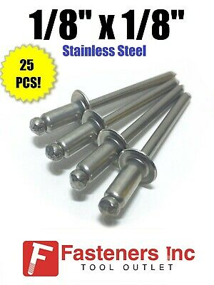 "(QTY 25) POP Rivets ALL Stainless Steel 4-2 1/8"" x 1/8"" Grip Range"