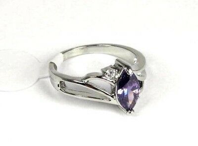 R#6127 simulated Purple Amethyst gemstone Solitaire ladies silver ring size 10