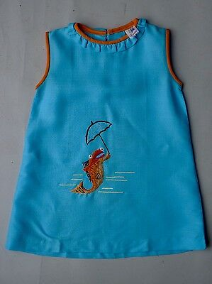 Vintage retro true 50s 3 - 4 YO  unused girls aqua cotton shift  dress fish NOS