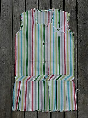 Vintage retro 50s 4 - 5 yo unused girls striped cotton shift dress NOS as new