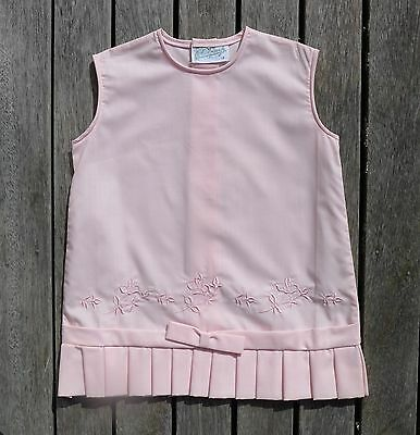 Vintage retro true 60s unused 1 yo baby girls dress pink NOS as new embroidery