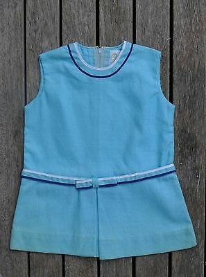 Vintage retro true 60s unused age 1 yo toddler  blue aqua mini dress MOD NOS