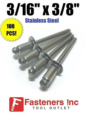 "(QTY 100) POP Rivets ALL Stainless Steel 6-6 3/16"" x 3/8"" Grip Range"