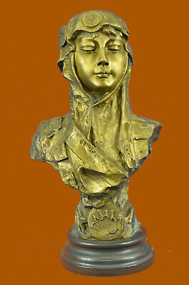 Art Deco Gilt Female Goddess Bust Great Bronze Sculpture Hot Cast Figure