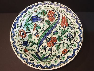 "Antique Iznik Pottery Floral charger, Turkish,12 1/4"" Dia. ca 1590"