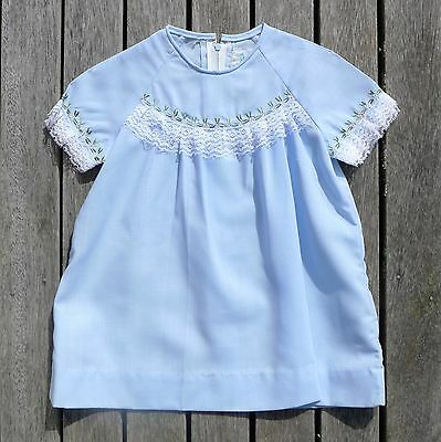 Vintage retro 60s unused 1 yo blue baby toddler dress NOS as new lace