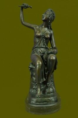 Nude American Indian Princess W/Dove Art Bronze Sculpture Hot Cast Figure