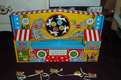 Rare Vintage Ohio Arts Tin Litho Wind Up Carnival Shooting Gallery GREAT COLORS