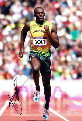 USAIN BOLT - Signed Colour action photograph from London 2012
