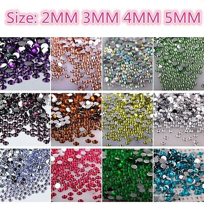 1000Pcs Crystal Flat Back Rhinestones Gems Diamante Bead Nail Art Crafts 2-5MM