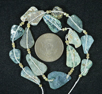 Ancient Roman Glass Beads 1 Medium Strand Aqua And Green 100 -200 Bc 557