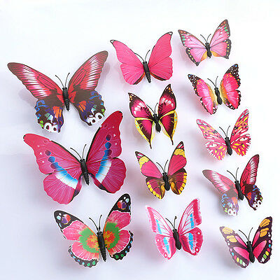 12pcs 24pcs 3D Butterfly Wall Art Decal Stickers Magnet Mural Home Decoration