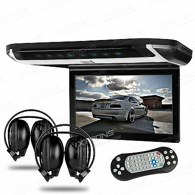 "XTRONS 10"" Roof Mount HDMI LCD Monitor Car Flip Down DVD Player Game Headphones"