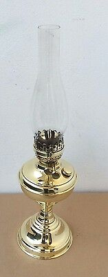 Antique Vintage Solid Brass Table Oil Lamp with 2 Burner & Clear Glass Shade