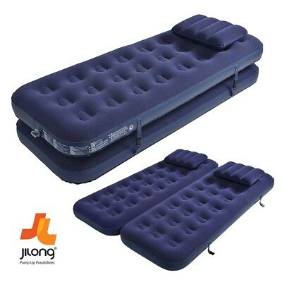 Jilong 3 In 1 Inflatable Flocked Vinyl Coil Beam Air Bed Camping Relax Mattress