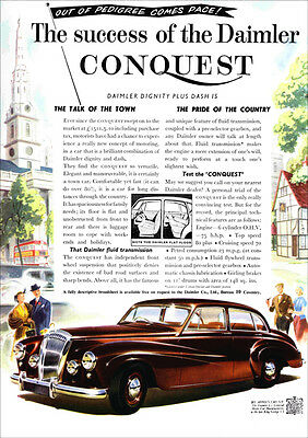 DAIMLER CONQUEST RETRO A3 POSTER PRINT FROM CLASSIC 50's ADVERT
