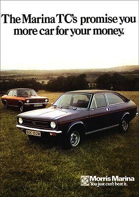 Morris Marina Tc Coupe & Saloon Retro A3 Poster Print From Classic 70's Advert