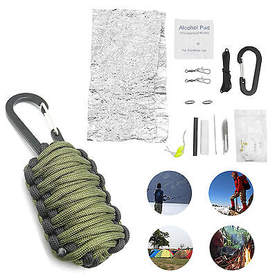 Outdoor Survival Emergency Camping Hiking Fishing Paracord Tools Kit Army Green