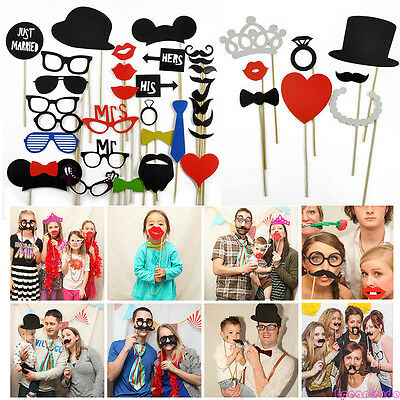 5~58X Party Cute DIY Photo Booth Props Mask Glass On A Stick Wedding Decorations