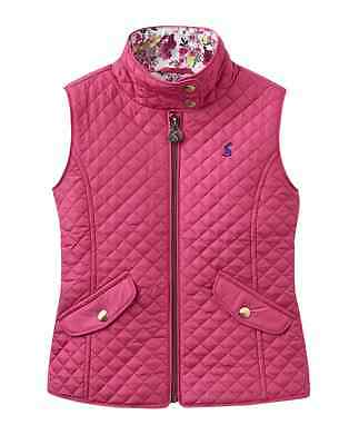 Joules Junior Jilly Girls Quiled Fitted Gilet - Fushia Pink