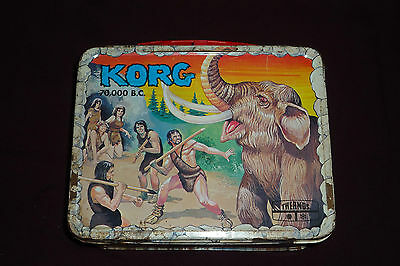 Vintage 1970s Hanna Barbera KORG 70000 Thermos Metal Lunch Box NO THERMOS
