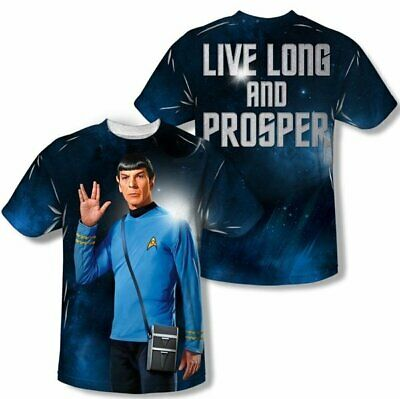 Star Trek Spock Live Long and Prosper Two-Sided Sublimation Print T-Shirt UNWORN
