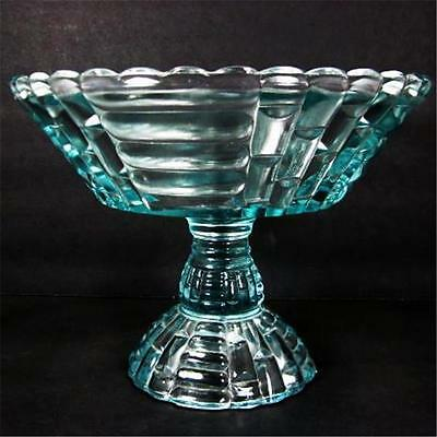 Jeannette Glass Louisa Light Ice Blue Footed Compote Fruit Bowl