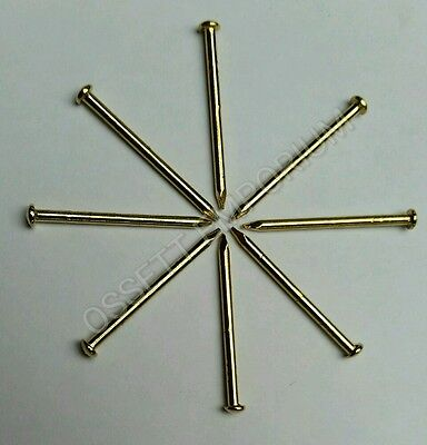 25mm ESCUTCHEON PINS TACKS CHOOSE QTY ELECTRO BRASS FREE P&P