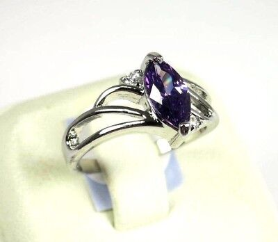 Purple Amethyst simulated gemstone solitaire ladies silver ring size 9.25 R#6123