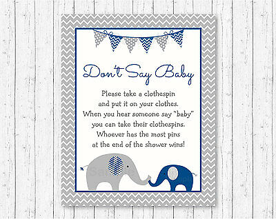 Navy Blue & Grey Chevron Elephant Dont Say Baby Baby Shower Game Printable