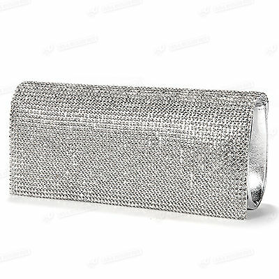 New Crystal Silver Party Wedding Prom Ladies Diamante Evening Bag Clutch Purse