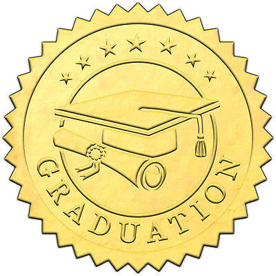 "Elegant GOLD embossed foil certificate seals ""GRADUATION"" - 50 pack"