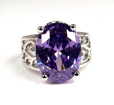 Purple Amethyst simulated Gemstone Solitaire ladies silver ring size 7 R*2365
