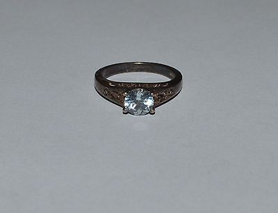 Korea Sterling Silver And Blue Cz Ring Size 6.25