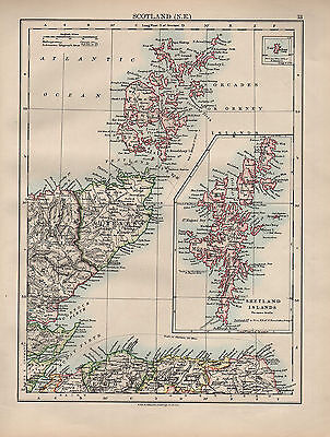1902 Map ~ Scotland North East ~ Caithness Shetland Islands Orkney Sutherland