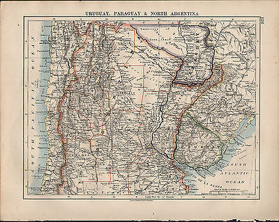 1914 Map ~ South America Uruguay Paraguay & North Argentina