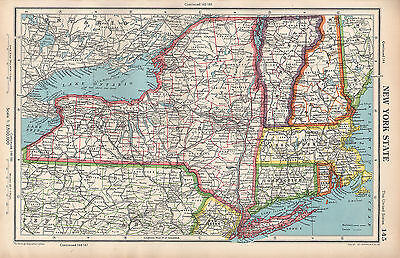 1952 Map ~ United States ~ New York State Long Island Connecticut Vermont