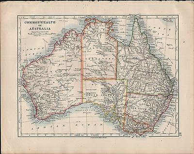 1914 Map ~ Commonwealth Of Australia Queensland Victoria New South Wales