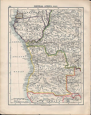 1914 Map ~ Central Africa West ~ Angolia Belgian Congo Rhodesia