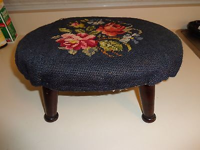 Antique Dark Wood Dusty Rose Floral Brown Needlepoint Foot Stool