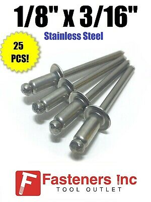 "(QTY 25) POP Rivets ALL Stainless Steel 4-3 1/8"" x 3/16"" Grip Range"