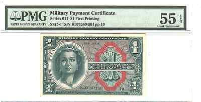 1961 $1 Military Payment Certificate MPC, Series 611, PMG 55 EPQ