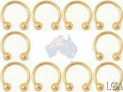 HORSESHOE Ring CBB Rings GOLD Plated 3 sizes pierced Nose Eyebrow Body Jewelry*