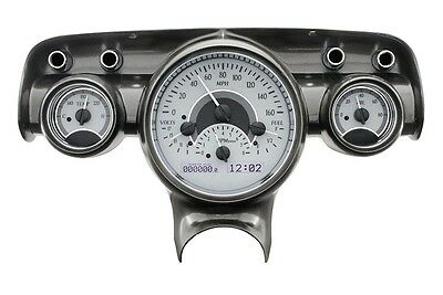 1957 Chevy Bel Air 210 Silver Alloy & White Dakota Digital VHX Analog Gauge Kit