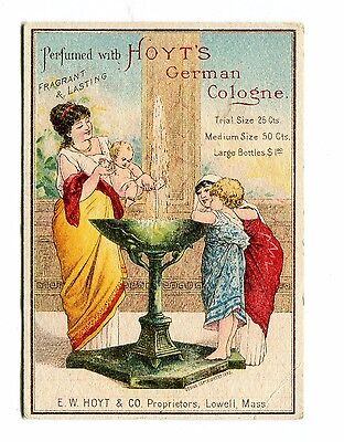 Victorian Trade Card HOYTS GERMAN COLOGNE Lowell MA woman at fountain w children
