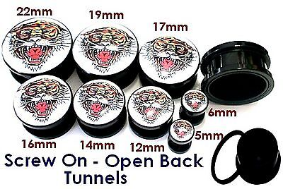 1 x Acrylic Screw on Fit Tunnel Plug Black ROARING TIGER 8 sizes 5mm - 22mm