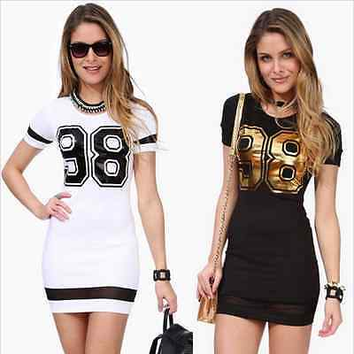 New Women Summer Casual Short Sleeve Patchwork Evening Party Cocktail Mini Dress
